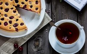 Картинка вишня, чай, пирог, книга, выпечка