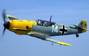 Картинка полет, самолет, истребитель, пилот, пропеллер, Ме-109, Мессершмитт, BF-109