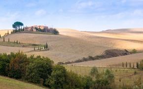 Картинка дорога, осень, небо, деревья, холмы, дома, Италия, панорама, Тоскана