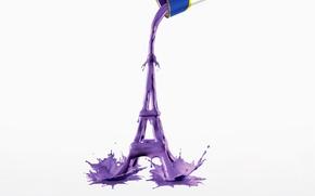 Картинка брызги, креатив, краска, эйфелева башня, банка