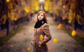 Обои листья, осень, Melis, рыжеволосая, прелесть