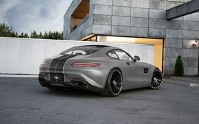 Обои mercedes-benz, amg, gt, tuned, wheelsandmore, 600hp, grey, rear