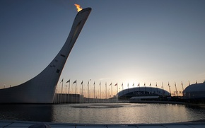 Картинка вода, закат, огонь, фонтан, Сочи, XXII Зимние Олимпийские Игры, sochi 2014 olympic winter games, Олимпийский …
