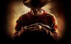 Обои полоски, улыбка, нож, маньяк, перчатка, убийца, ужасы, свитер, кошмары на улице вязов, фредди крюгер