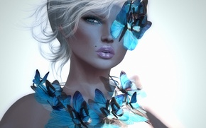 Картинка девушка, бабочки, фон