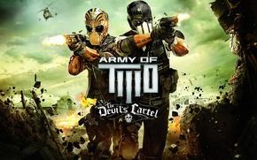 Картинка взрыв, оружие, Мексика, вертолет, маски, экипировка, Браво, Альфа, Army of Two: The Devil's Cartel
