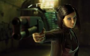 Картинка взгляд, оружие, движение, Девушка