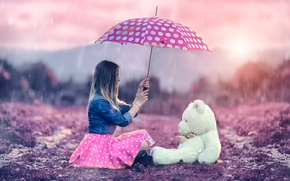 Картинка девушка, дождь, зонт, мишка, Alessandro Di Cicco, Me and Teddy