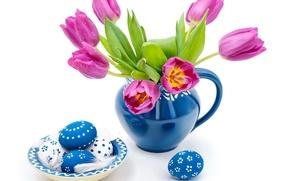 Картинка капли, яйца, весна, пасха, тюльпаны, синие, easter