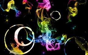 Обои цвета, радуга, краски, черный фон