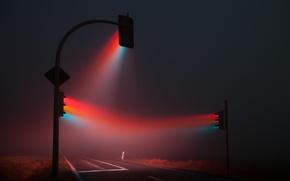 Картинка дорога, ночь, туман, светофор