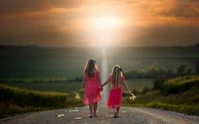 Картинка дорога, путь, девочки, кукуруза, простор