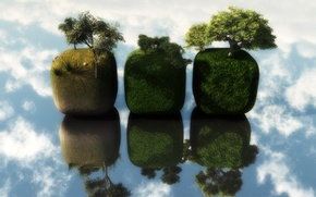 Обои отражение, Кубы, облака