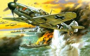 Картинка атака, рисунок, корабли, арт, Messerschmitt, Luftwaffe, одномоторный поршневой истребитель-низкоплан, Фридрих, Bf-109 F4