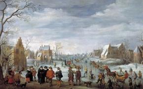 Обои картина, Joost Cornelisz. Droochsloot, Зимний Пейзаж с Катанием на Льду, дома, люди, город