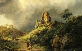 Картинка тучи, ручей, камни, люди, скалы, буря, картина, развалины, путники, Koekkoek Barend Cornelis