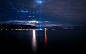 Обои море, маяк, свет, побережье