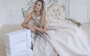 Картинка девушка, улыбка, платье, актриса, блондинка, Наталья Рудова