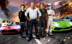Обои Jeremy Clarkson, Top Gear, Stig, Supercars, Richard Hammond, James May, Ferrari LaFerrari, BMW i8, Lamborghini ...