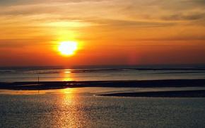 Картинка небо, солнце, закат, пролив, вечер, горизонт, Тайвань, золотой, оранжевое
