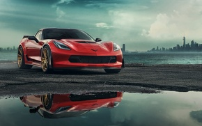 Обои Corvette, Chevrolet, Red, Car, Front, C7, Zummy
