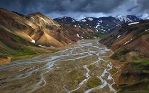 Картинка горы, текстура, долина, реки