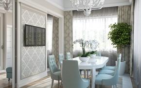 Картинка цветы, стол, стулья, интерьер, орхидеи, плазма, столовая