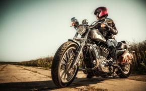 Картинка girl, motorcycle, motorcycle helmet