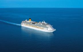 Картинка пейзаж, океан, отдых, корабль, Море, лайнер, плывет