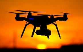 Картинка red, yellow, sunset, drone, shades