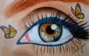 Картинка макияж, взгляд, бабочки, глаз, ресницы, живопись, подводка