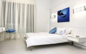 Обои комната, синий, интерьер, спальня, белый, кровать