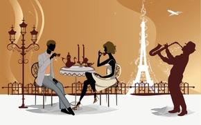 Картинка Париж, Кафе, Эйфелева башня