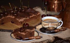Картинка вишня, кофе, пирог