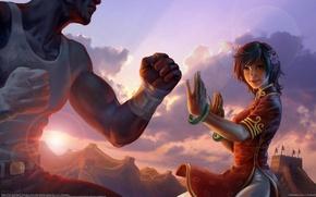 Картинка цветок, девушка, солнце, закат, рисунок, бой, Китай, art, battle of the great wall