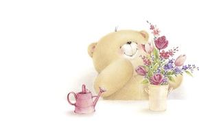 Картинка детская, улыбка, настроение, арт, Forever Friends Deckchair bear, мишка, букетик