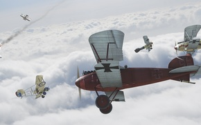 Картинка небо, Самолет, битва, биплан