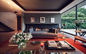 Картинка камин, Интерьер, дизайн мебель