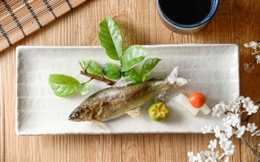 Картинка рыба, лайм, соус