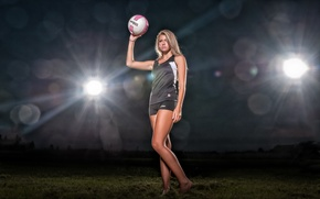 Картинка девушка, свет, мяч