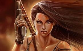 Картинка девушка, пистолет, оружие, меч, арт, серьга, перчатка, крестик, рукоятка