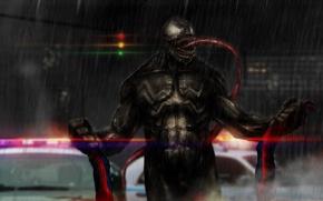 Обои venom, человек паук, светофор, дождь, язык