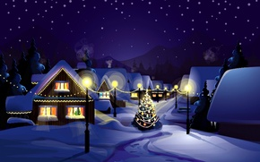 Обои Новый Год, праздник, снег, зима, природа, елочные, дома, New Year, елка, Christmas, ночь, Рождество, пейзаж