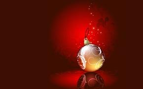 Картинка зима, вектор, шарик, Новый Год, Рождество, украшение, открытка