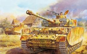 Картинка Рисунок, Танк, PzKpfw IV, Немецкий, Panzerkampfwagen IV, Panzerwaffe, 75-мм KwK.40, Средний, Pz.KpfW.IV, Ausführung H, L …