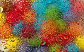 Картинка стекло, вода, капли, шарики, colorful, rainbow, glass, разноцветные, rain, water, drops