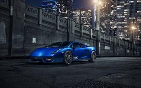 Картинка Lamborghini, Gallardo, Blue, Front, Vorsteiner, Supercar, Wheels, 105, V-FF