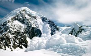 Картинка гора, снег, Лавина