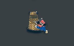 Картинка юмор, арт, Марио, серый фон, Doctor Who, Доктор Кто, Super Mario, Mario Bros, Dalek, Далек