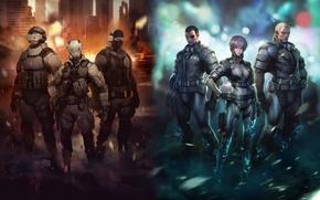 Картинка Ghost in the Shell, сайто, призрак в доспехах, Motoko, Batou, бато, Saito, мотоко